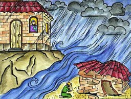 The Parable of the Two Builders Children's drawing
