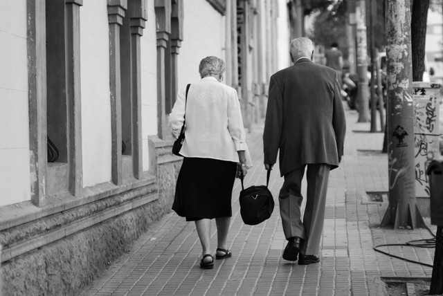 old couple working together