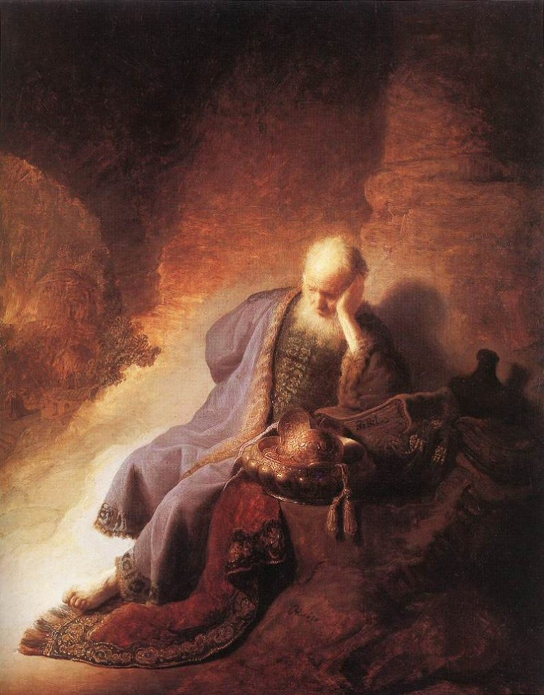 Jeremiah lamenting the destruction of Jerusalem. Rembrandt 1630